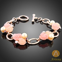 [Arinna Jewelry] Wholesale Jewelry Fashion Cheap Gold Plated Chain flower Bracelets for Women Bracelets Bangles 2013 S0566