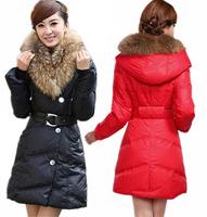 Korean fashion 2014 winter women duck down jacket high quality luxury fur collar medium long slim parkas warm cotton-padded coat