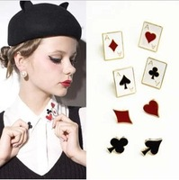Min Order $10 free shipping Hot new winter fashion jewelry 2014 Lovely and funny modern poker color small brooch neckties