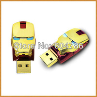 100PCS/LOT, Fashion Avengers Iron Man LED Flash 4-16GB USB Flash 2.0 Memory Drive