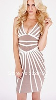 Free shipping High Quality! New Arrival HL Knitted Stretch Striped Sexy Bandage Dress Celebrity Evening Party Dress