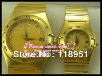 2014The new luxury business-18K gold-plated automatic mechanical Swiss watches sapphire couple watches