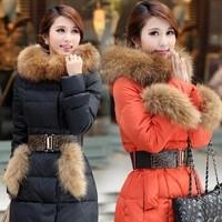 Free shipping! 2013 luxury large fur collar slim medium-long thermal down wadded jacket plus size cotton-padded jacket    A33