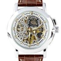 Orkina Elegent Men's Silver Case Skeleton Mechanical Dial Stainless Steel Brown Leather Strap Wrist Watch | ORK0007