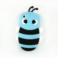 10pcs/lots FreeShipping New Cute 3D Bee Silicon Soft Back Cover Case Skin For Apple iphone 4 4G 4GS 4S JS0703 DropShipping