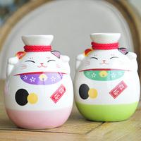 Fresh ceramic lucky cat hip flask wine sake pot large capacity 250ml
