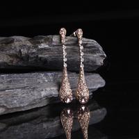 Women Lady Girls Temperament Long Chain Gold Color Water Drop Rhinestone Earrings Ear Rings Ear Pendants Earbob