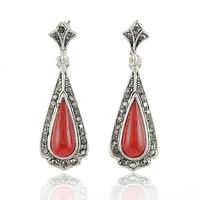 New Vintage Earrings Costume Jewellery Tibetan Silver With Synthetic Gemstone Earring