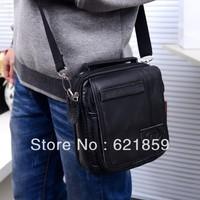 Men's leather satchel shoulder portable diagonal cross waist solid color simple and generous man bag free shipping