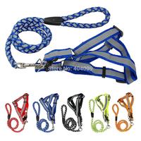 Step-in Safty Reflective Nylon Noctilucent Dog Puppy Harness&Leash Adjustable