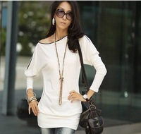 2013 spring autumn fall winter Korean version women's new zipper collar Long T shirt similar ladies dress+free shipping