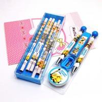 3 Box (12pcs/box) Despicable Me Capsules Pencil+Eraser+Pencil Sharpener Infant Primary School Students Cartoon Pencils Sets