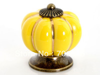 Free shipping 2pcs yellow Ceramic Door Cabinets Pumpkins Knobs Drawer furniture knob