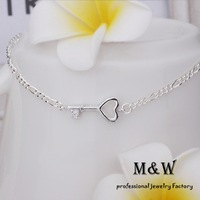 9$ Free Shipping! A024 High Quality Jewelry Silver Plated Fashion Crystal Heart Key Foot Bracelet Ankle Chain for Women