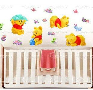 Ours-pvc-bande-dessinée-papier-peint-chambre-de-bébé-pépinière