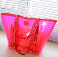 Quality women bag transparent handbag fashion jelly color tote bag casual-bag