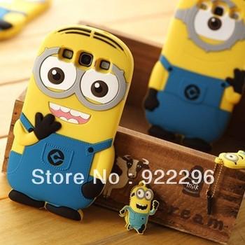 Brand Designer 3D Cute Cartoon Despicable Me Minion Soft Silicone Back Universal Case Cover For Samsung Galaxy S3 i9300 freeship