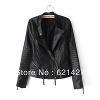 2014 new   LADIES   ZA  fashion lady's  Slim zipper   leather jacket    women female leather jacket
