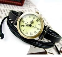 Vintage Ladies Leather Band Quartz Analog Knitted Genuine Band Cuff Hemp Bracelet Wrist Watch High Quality Roma Header