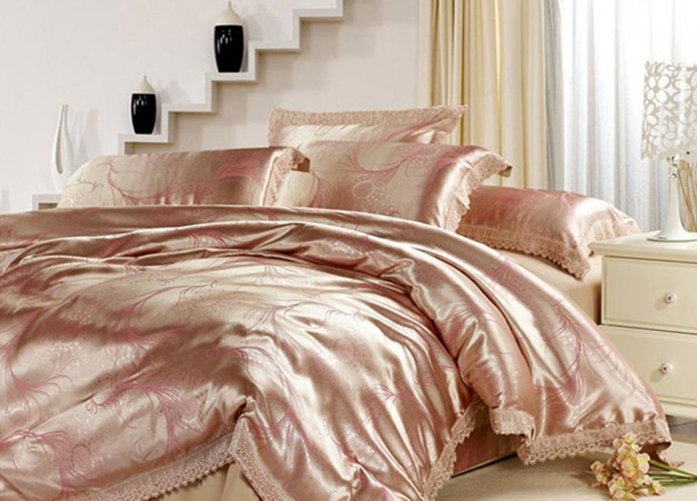 Gold queen comforter luxury christmas bedding set satin comforter