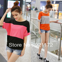 2013 summer women's female t-shirt short-sleeve batwing sleeve plus size loose women's basic shirt