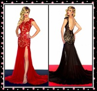 2013 Custom Size New Long Sexy Black/Red Cap Sleeve Evening Prom Dress  Hot sale Free shipping