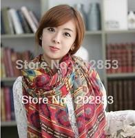 Free Shipping Bohemian national wind Viscose yarn geometry new ladies chiffon scarves Silk scarf  trend women's chiffon scarf