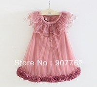 2013 Fashion girl dress,  vest fully thin flowers bitter fleabane gauze plate dress Size 110~150cm