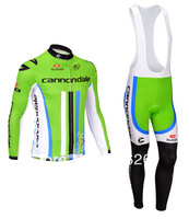 Free Shipping 2013 Thermal fleece Cycling Long Sleeve and Bib Pants Cycling Team J9090724