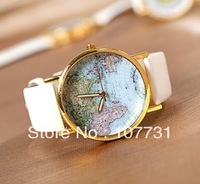 Free Shipping! 2013 Styles Map Watches Leather Alloy Wrist watch Women Ladies Men wholesale Unisex Quartz Watch
