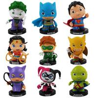Super Heroes DC Comics cute figures 9 pcs exquisite decoration Superman Batman Catwoman The Joker Green Lantern..