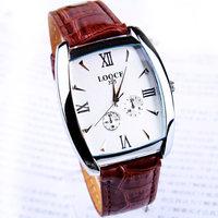 Free&Shipping 1PC Luxury Gentlemen Man Men's Quartz Wristwatch Fashion Young Men's Square Roman Scale Simple Leather Watch Clock