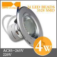 Free shipping Aluminum round recessed 86-265VAC cold/warm white 4W CE&ROHS fixed downlight