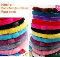 Wholesale (50pcs/lot)Colorful baby girl hair headband elastic hair rope hair ornament Free shipping