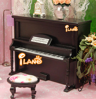 iland 1/12 Dollhouse Miniature Instrument Piano W/ Stool Black Dollhouse Miniature Music Wood Studio HE005G