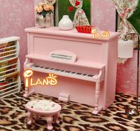 iland 1/12 Dollhouse Miniature Furniture Instrument Piano W/ Stool Pink Dollhouse Miniature Music Wood Studio HE005L