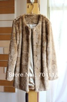 Long Design Camel 'Hair Color Faux Rabbit  fur coat