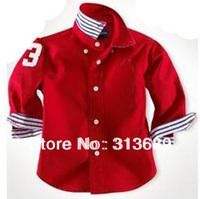 2014 Boys and girls long-sleeved shirt t  ricolor lapel cardigan 2013X  RD2659