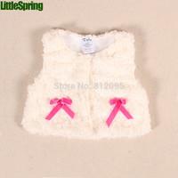 Retail 2014 Little girl autumn winter Fashion coat baby vest bow high quality outerwear LittleSpring GLZ-S0356 XLS