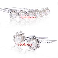 Hot Sale Wholesale Bridal Accessories Girls Hair Pearls Barrettes Diamond Jewelry Headdress KH510