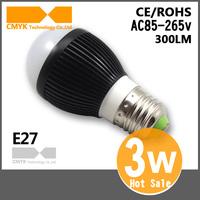 3W Bulb Free Shipping CREE High quality Aluminum AC85~265V Black Shell Cold/Warm white E27/E14/E27 E14 Bulb 360degree