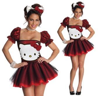 3-Piece Sequin Hello Kitty Costume Low Cut Square Neckline Puff Sleeves Dark Red Sexy Mini Dress Tutu Layer Skirt+Ear Headband