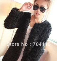 Free Shipping Thickening berber fleece outerwear medium-long fur coat  On Sale