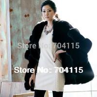 Hot Selling Customization Luxury and Fashion Black Faux Fur Coat