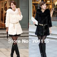 New Faux Rabbit Fur Coat Black and White