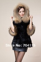 Warm and Long  False China Raccoon Fur Collar Rabbit Fur Coat Bargain Price