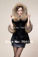 Warm and Long  False China Raccoon Fur Collar Rabbit Fur Coat Bargain Price