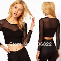 Womens See-through Long Sleeve Splicing Grenadine Blouse Tops Crop Top T-Shirt HR687 free&drop shipping