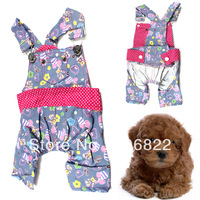 Cute Pet Dog Clothes Apparel Flower Pattern Jeans Strap Pant Jumpsuit Overalls LX0096 Free shipping&DropShipping