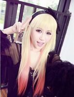 free shipping 2014   women japanese long wigs harajuku  pink gradient  AMO  style cos anime wigs
